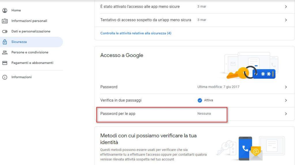 Impostazioni google verifica in due passaggi