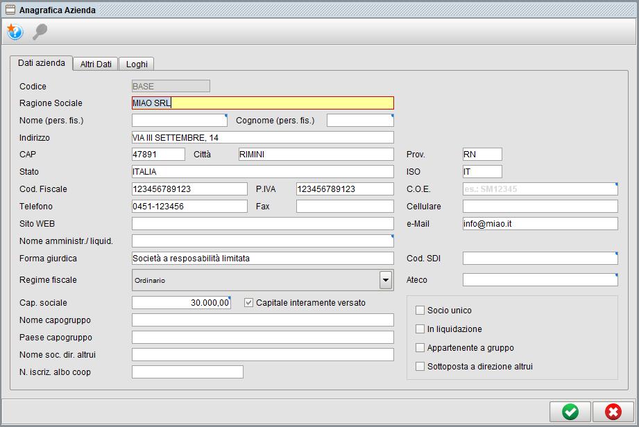 Impostazioni dati azienda - Software gestionale Atlantis Evo