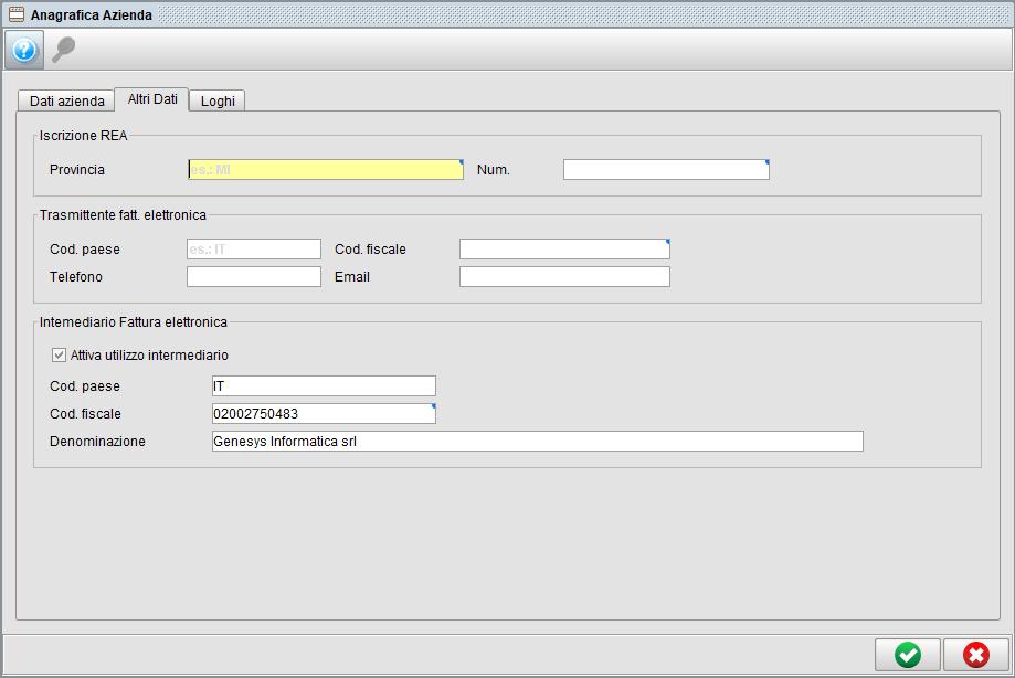 Impostazioni dati azienda - altri dati | Software gestionale Atlantis Evo