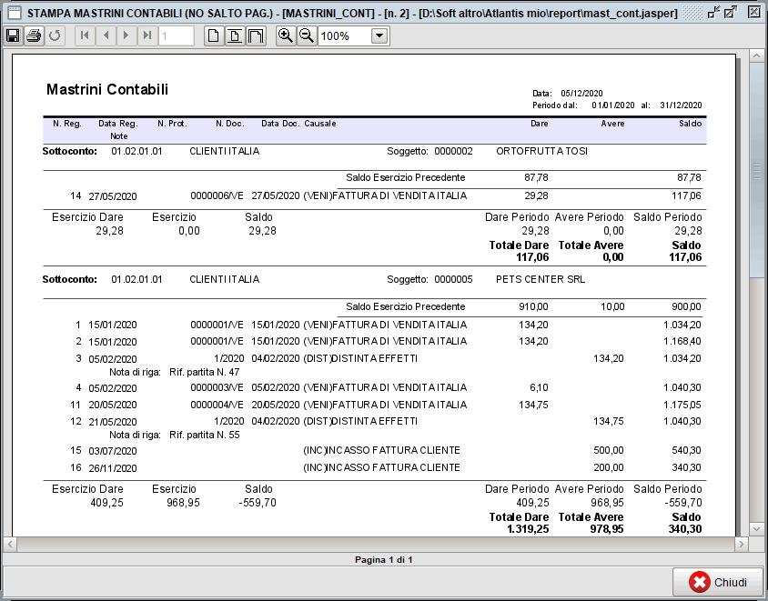 Stampa mastrini - stampa | Software contabilità Atlantis Evo