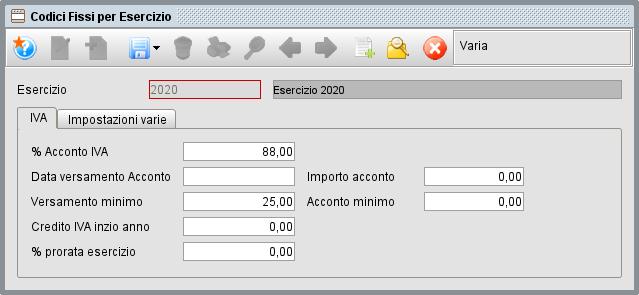 Codici fissi per esercizio-1 | Manuale software gestionale Atlantis Evo