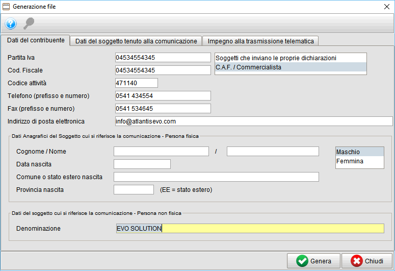 frontespizio generazione file - spesometro - gestionale Atlantis Evo