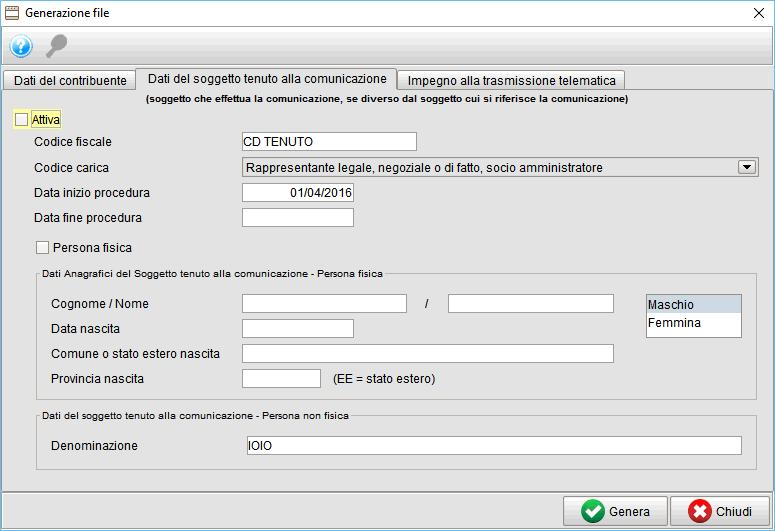 frontespizio generazione file-1 spesometro - gestionale Atlantis Evo