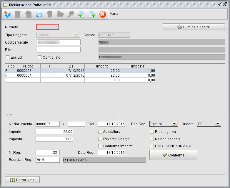 gestione dettaglio dati spesometro - gestionale Atlantis Evo