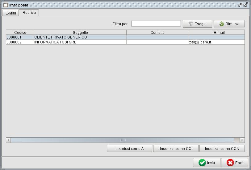 maschera invio fatture per e-mail - software gestionale Atlantis Evo