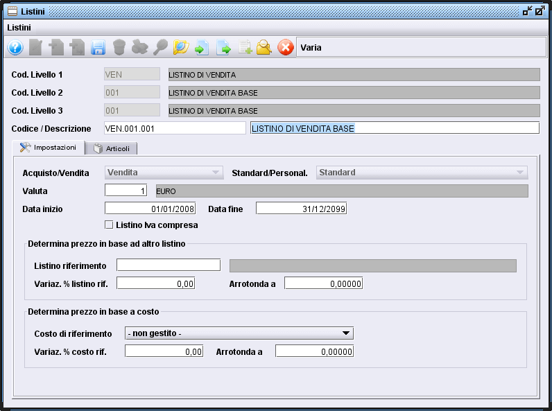 scheda listini-3 software gestionale Atlantis Evo