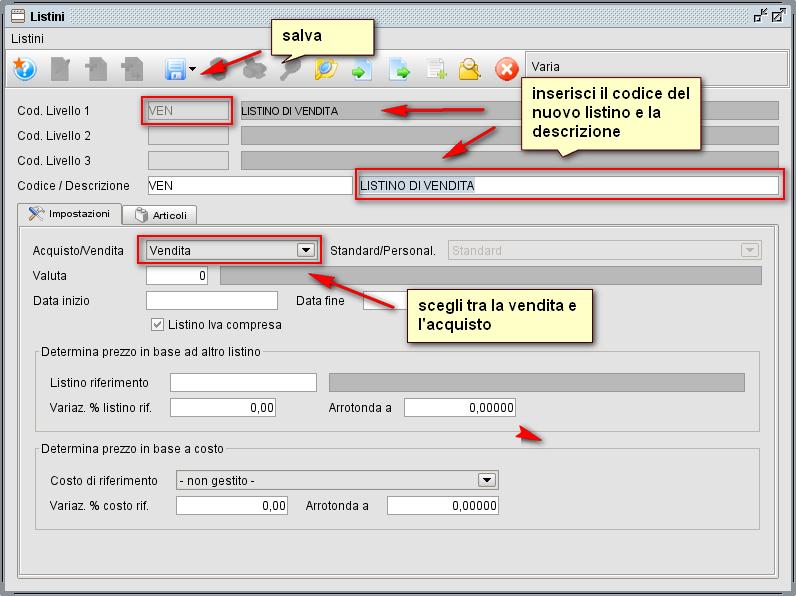 schermata listino livello 1 - software gestionale Atlantis Evo