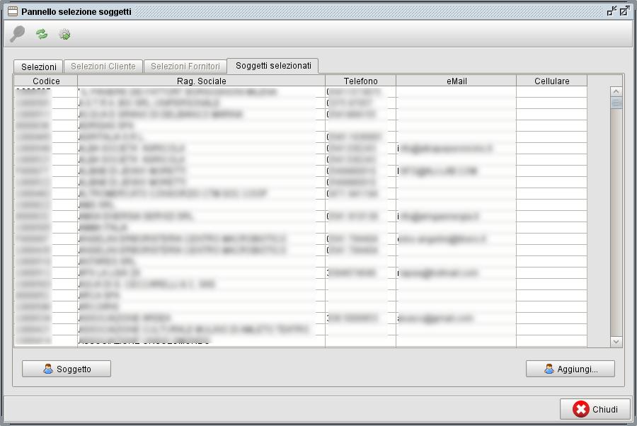 pannello selezione soggetti-1 software gestionale Atlantis Evo