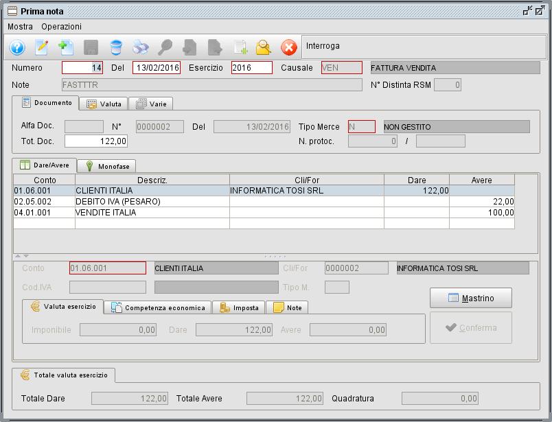schermata prima nota - software gestionale Atlantis Evo