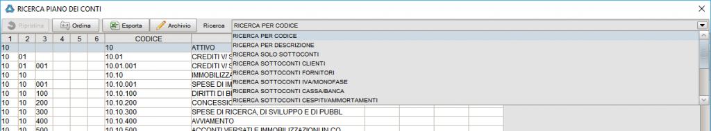 Ricerca conto - Software gestionale Atlantis Evo