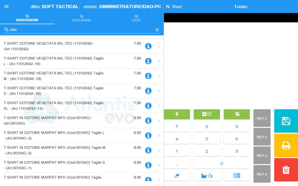 pos scheda vendita - software gestionale Atlantis Evo
