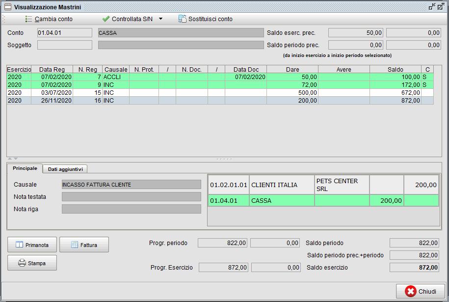 Visualizzazione mastrini - segnare controllate   Software contabilità Atlantis Evo