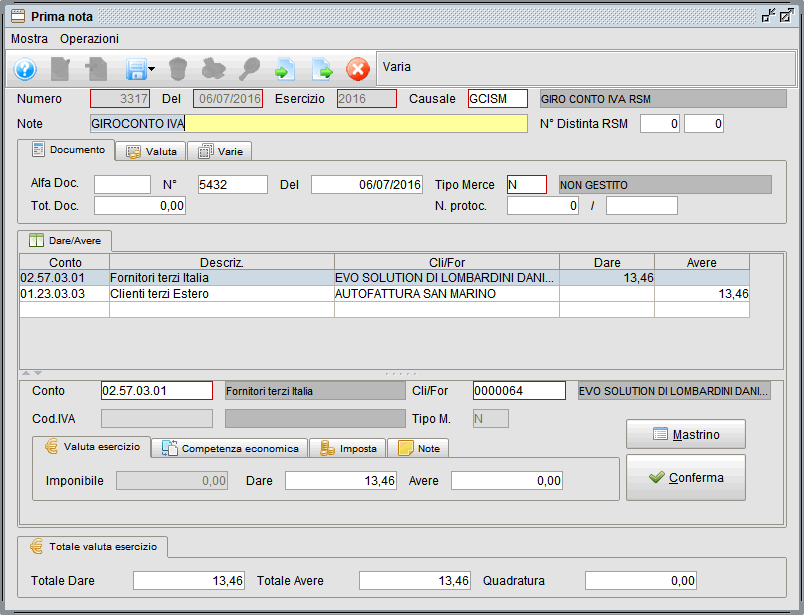 prima nota esempio giroconto iva rsm - software gestionale Atlantis Evo