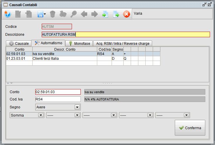 causale contabile autofattura rsm - software gestionale Atlantis Evo
