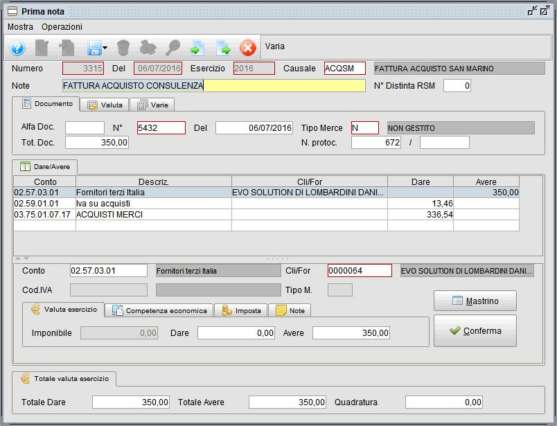 prima nota esempio fattura acquisto rsm - software gestionale Atlantis Evo