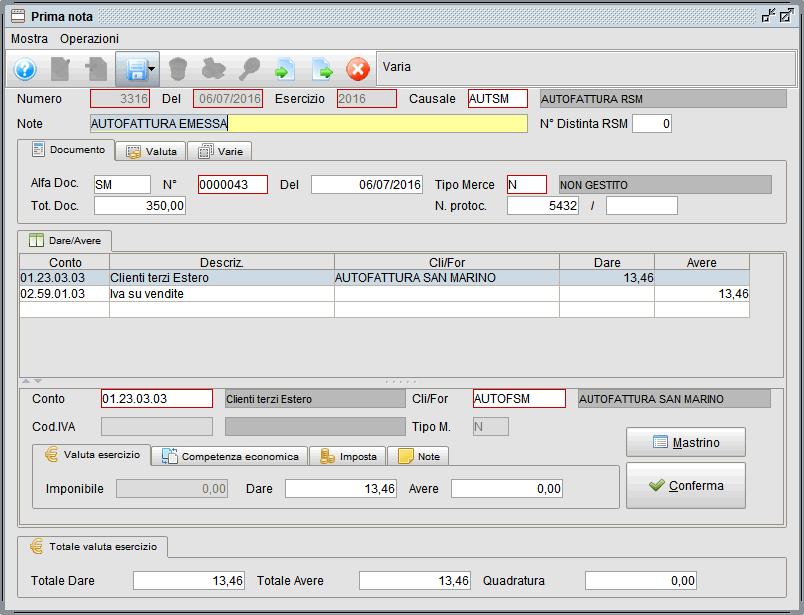 prima nota esempio autofattura emessa - software gestionale Atlantis Evo