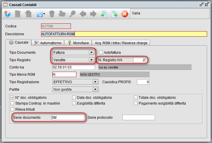 causali contabili autofattura rsm - software gestionale Atlantis Evo