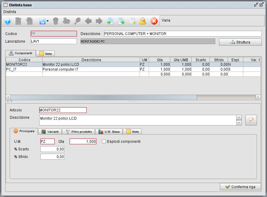 distinta base scheda componenti- software gestionale Atlantis Evo