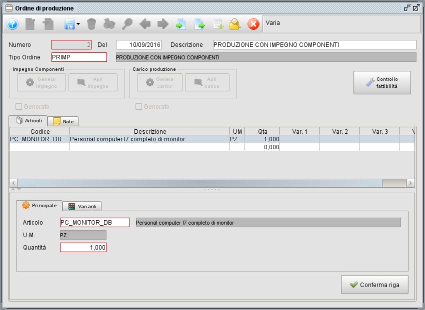 Ordine di produzione - software gestionale Atlantis Evo