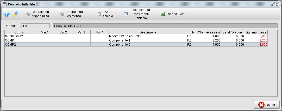 Controllo fattibilità - software gestionale Atlantis Evo