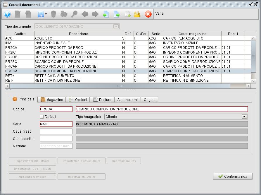 Causali documenti - scarico componenti da produzione- programma gestionale Atlantis Evo
