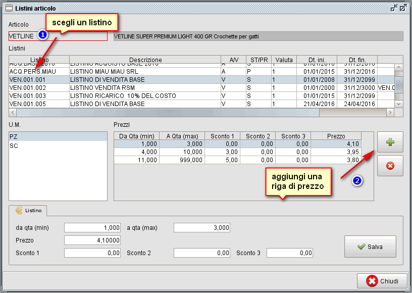 anagrafica articoli -listino - software gestionale Atlantis Evo