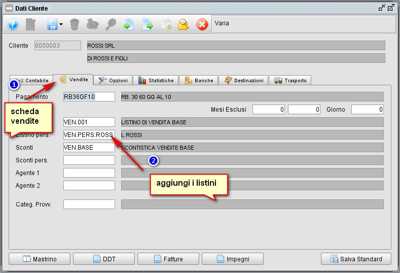 collegare listino al cliente/fornitore