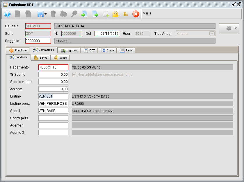 ddt - commerciale condizioni - software gestionale Atlantis Evo