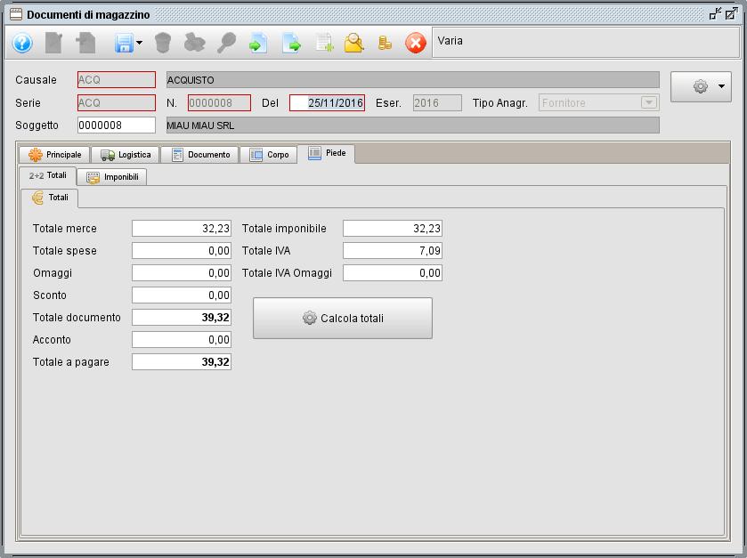 Documento magazzino - piede totali - software gestionale Atlantis Evo