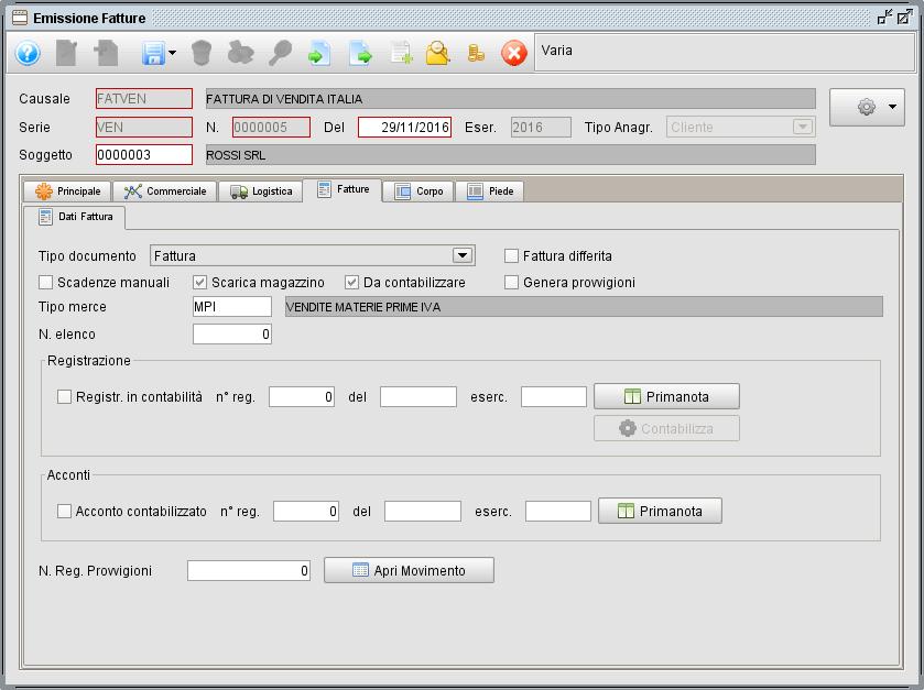 Fattura - linguetta Fatture- software gestionale Atlantis Evo