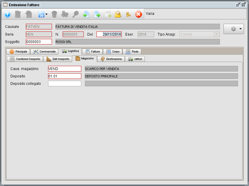 Fattura - linguetta Logistica magazzino- software gestionale Atlantis Evo