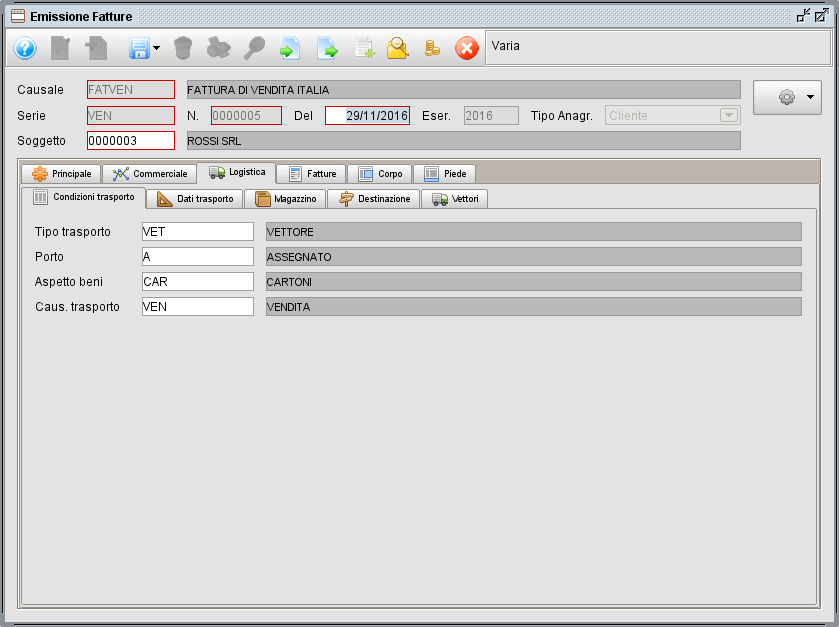 Fattura, linguetta Logistica Trasporto- software gestionale Atlantis Evo