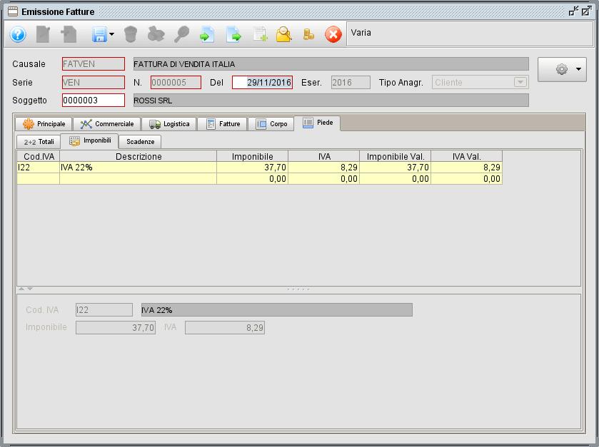 Fattura - linguetta Piede Imponibili - software gestionale Atlantis Evo