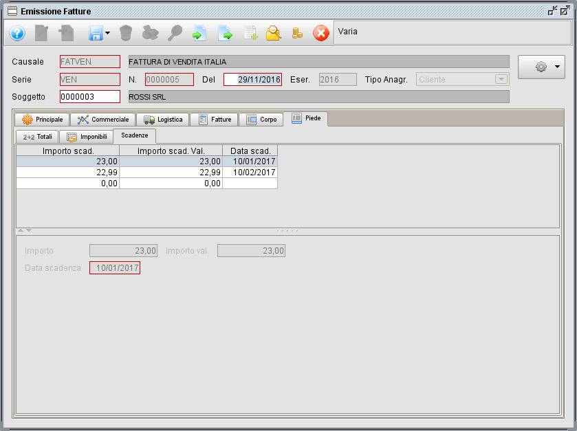 fattura - linguetta Piede Scadenze - software gestionale Atlantis Evo