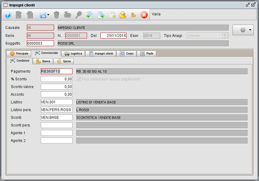 impegno- linguetta Commerciale Condizioni - software gestionale Atlantis Evo