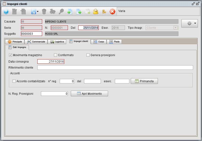 impegno- scheda Impegno clienti - software gestionale Atlantis Evo