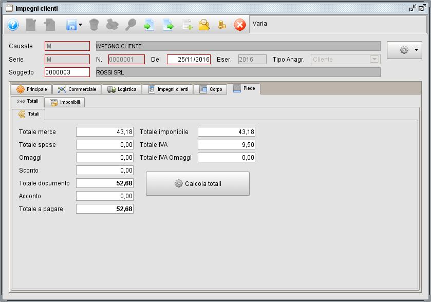 impegno- scheda Piede Totali - software gestionale Atlantis Evo