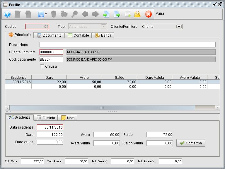gestione archivio partite - programma gestionale Atlantis Evo