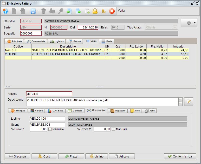 Fattura - Corpo Commerciale - software gestionale Atlantis Evo
