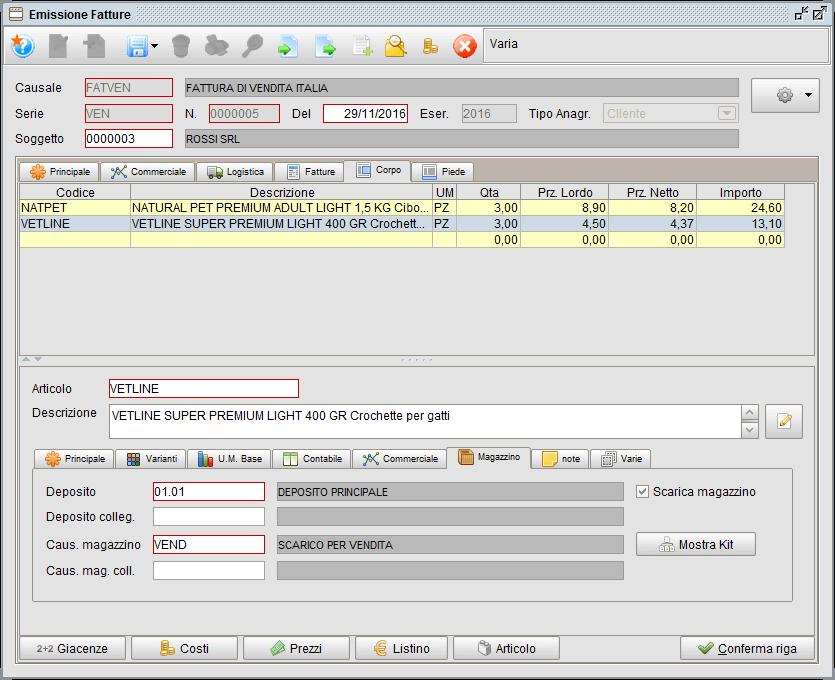 Fattura - Corpo Magazzino - software gestionale Atlantis Evo