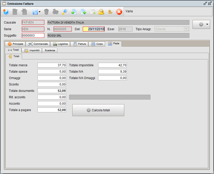 Fattura - Piede Totali - software gestionale Atlantis Evo