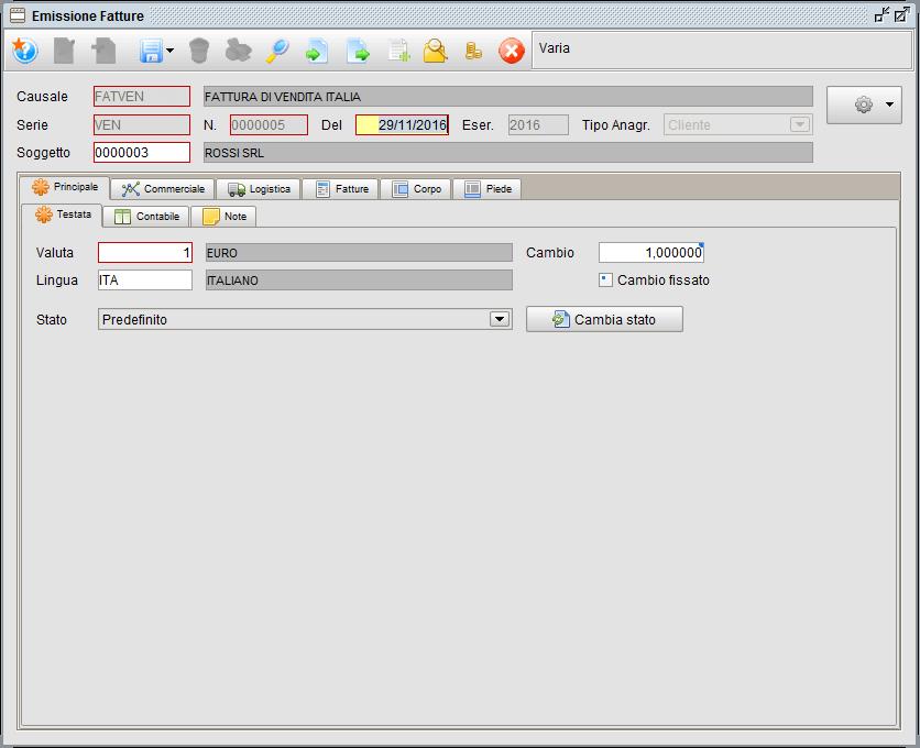 Fattura - linguetta Principale testata - software gestionale Atlantis Evo