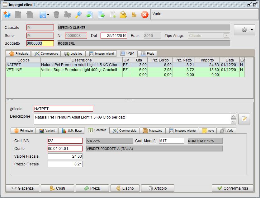 Impegno - scheda Corpo - Contabile | software gestionale Atlantis Evo