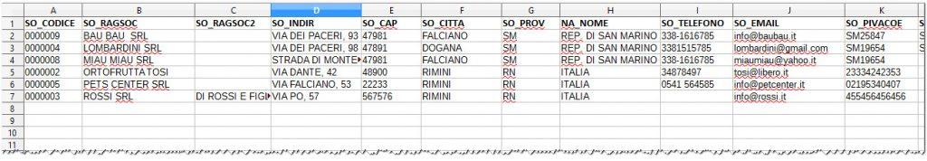Esportazione anagrafiche esempio file csv | Software gestionale Atlantis Evo