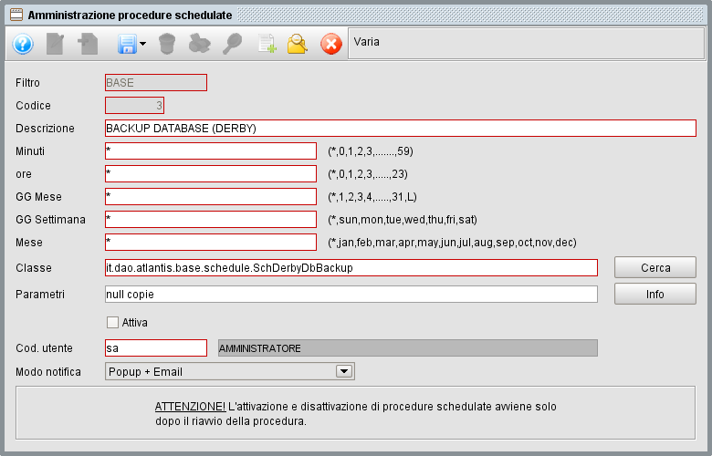 Schedulazione Backup database - gestionale Atlantis Evo
