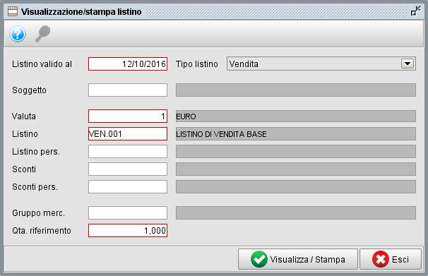 visualizazione e stampa listini con il software gestionale Atlantis Evo