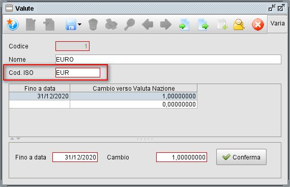 Valute per fattura elettronica