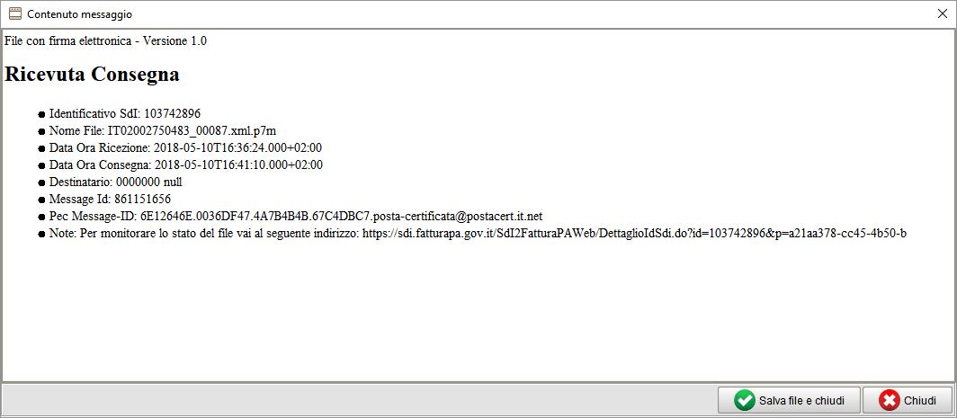 fattura elettronica con Atlantis Evo - messaggio