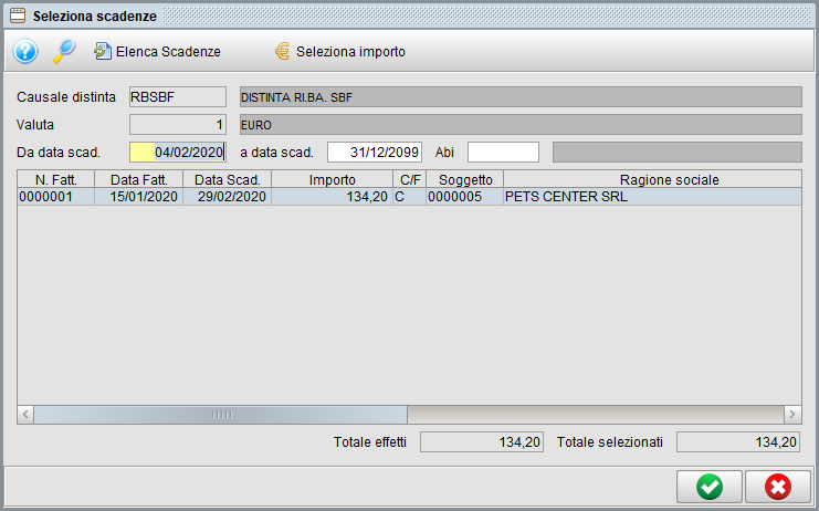 Distinta effetti - scadenze | Software gestionale Atlantis Evo