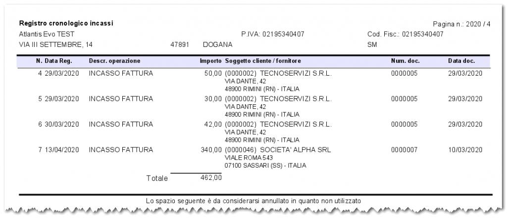Esempio stampa registro incassi / pagamenti regime per cassa - Software gestionale Atlantis Evo